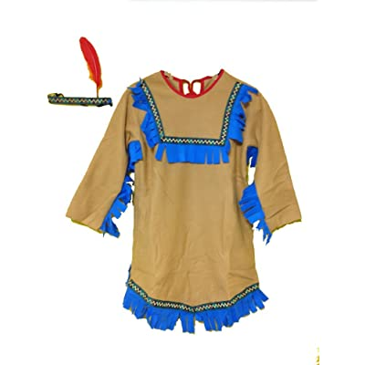 Indian Princess Costume with Headband with Feather Size Medium (Ages 8-10): Clothing