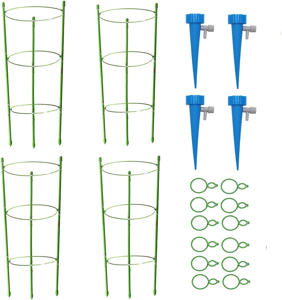 """IDOXE 4Pack Sturdy Garden Plant Support Tomato Cage, 18"""" Trellis for Climbing Plants, Plant Trellis Kits with 4 Self Watering Spikes 12 Plant Clips Hoop (18"""") for Vertical Climbing Plants"""