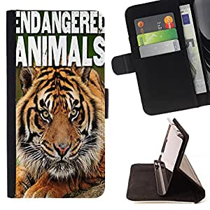 King Air - Premium PU Leather Wallet Case with Card Slots, Cash Compartment and Detachable Wrist Strap FOR Samsung GALAXY ALPHA G850 SM-G850F G850Y G850M- Tiger Heart Animals