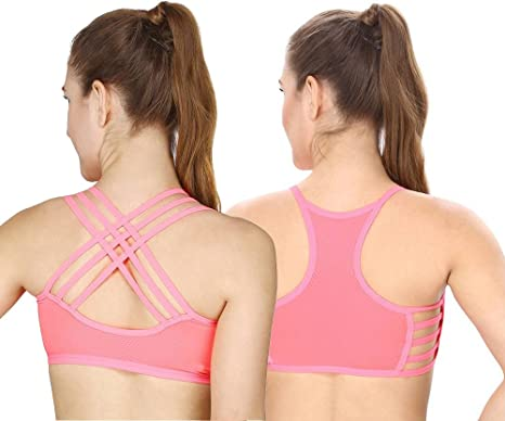 9d4b0eed01396 Secret Wish Combo of Women s Nylon Seamless Padded Sports Bra (Neon and Hot  Pink