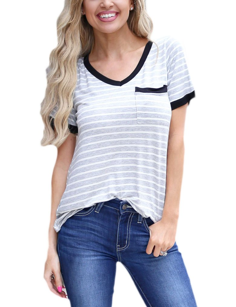 Qearal Women's Summer Basic Short Sleeve Tops Casual Loose Cotton T-Shirts with Pocket L Light Gray