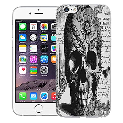 "Mobile Case Mate iPhone 6 4.7"" Silicone Coque couverture case cover Pare-chocs + STYLET - Black Periodical Skull pattern (SILICON)"