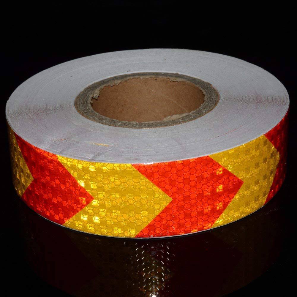 5CMx10M Reemky Reflective Warning Tape Fluorescent Safety Sticker Night Conspicuity Arrow Sticker Orange and Red Length Optional 2x33ft