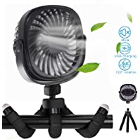 Mini Handheld Fan Portable Stroller Fan with Tripod, 3 Speeds Strong Airflow Natural Wind, 360 Degree Rotate Air…