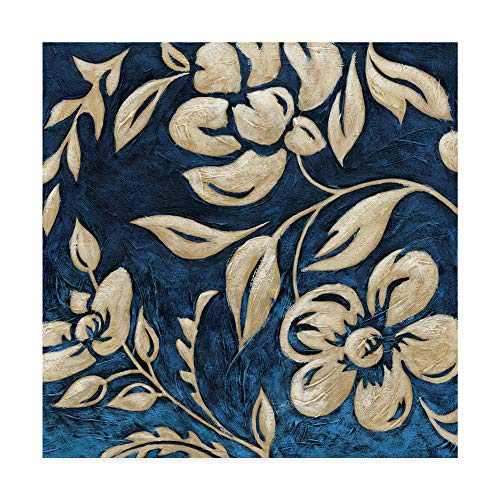 - Trademark Fine Art Indigo and Cream Brocade I by Chariklia Zarris, 24x24-Inch