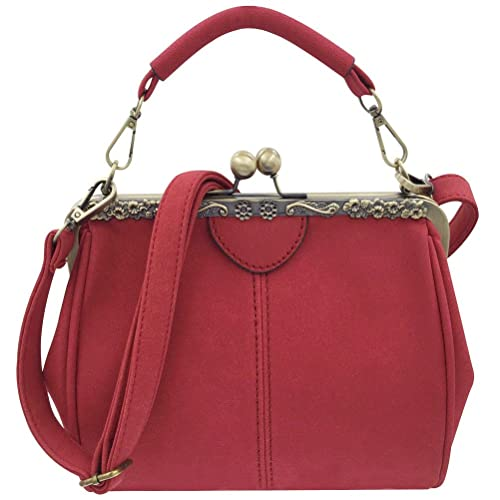 Abuyall Women Retro Handbags Nubuck Leather Vintage Kiss Lock Shoulder bag  A  Amazon.ca  Shoes   Handbags cb9ca8bff0