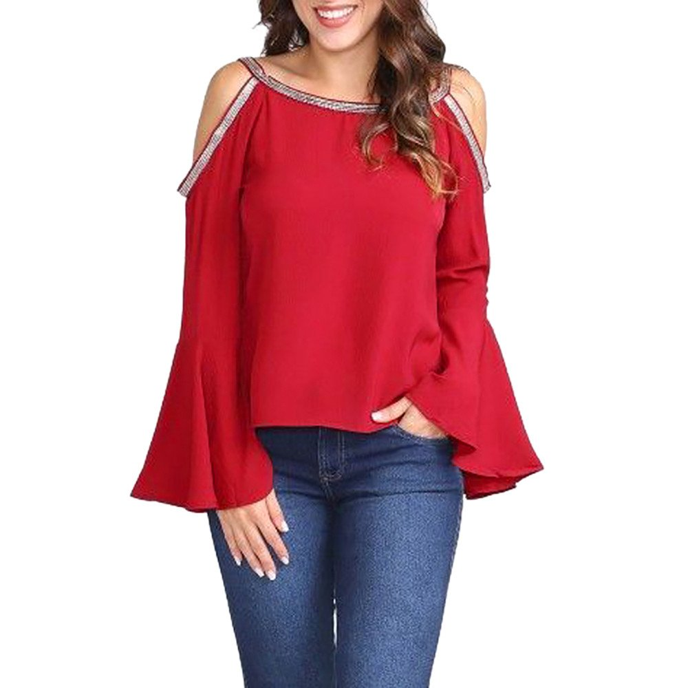 TWGONE Cold Shoulder Tops For Women Long Sleeve Solid Blouse Glitter Flare Sleeve T-shirt (X-Large,Red)