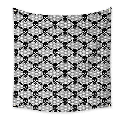 Gothic Dorm Room Tapestry Halloween Horror Theme Spooky Black Skulls Checkered Pattern with Skeleton Bones Floral Wall Tapestry Black White 70W x 70L Inch ()
