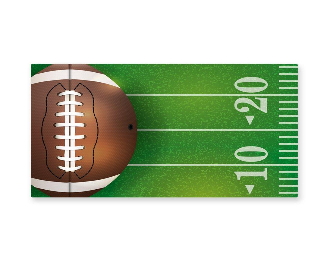 Lunarable Boy's Room Wall Art, American Football Field and Ball Realistic Vivid Illustration College, Gloss Aluminium Modern Metal Artwork for Wall Decor, 23.5 W X 11.6 L Inches, Green Brown White