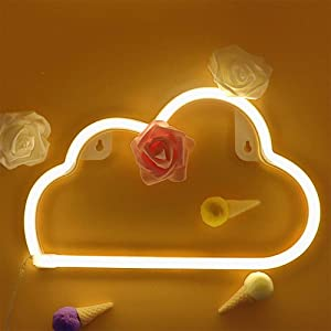 Warm White Neon Light LED Cloud Sign Shaped Decor Light Battery/USB Powered Home Wall Decoration for Christmas Birthday Party Children's Bedroom Living Room Office Wedding Party Decor