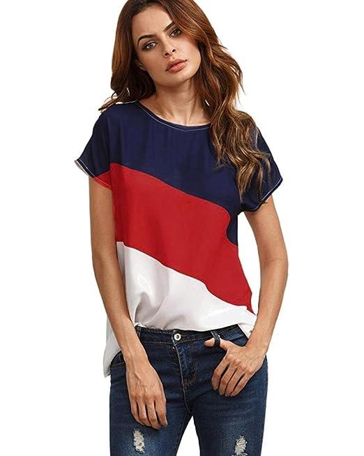 Tomwell Mujer Redondo de La Túnica de Manga Corto Camisas Blusas Color Block T-Shirt Camisetas Elegantes de Fiesta: Amazon.es: Ropa y accesorios