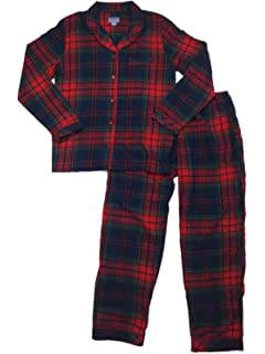 Womens Navy Red Yellow Checkered Plaid Flannel Pajamas Tartan Notched Sleep  Set a3667fea4