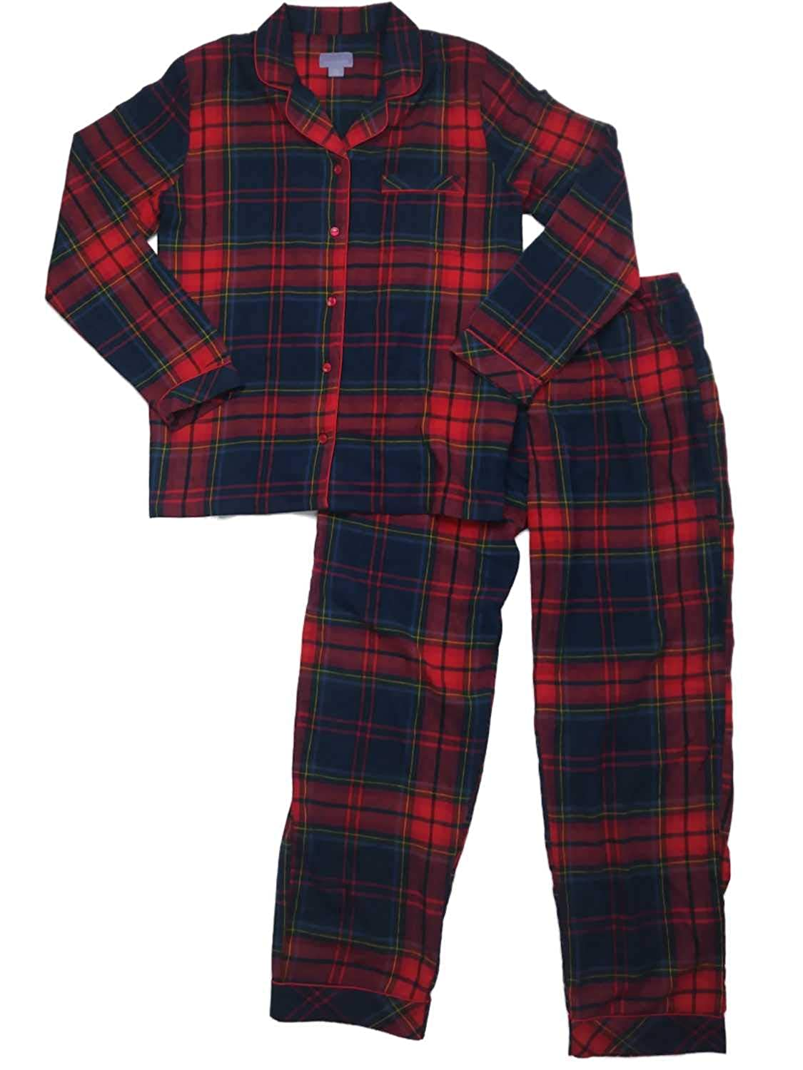 Womens Navy Red Yellow Checkered Plaid Flannel Pajamas Tartan Notched Sleep  Set at Amazon Women s Clothing store  3bf93890574