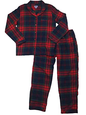 0e40dd374616 Image Unavailable. Image not available for. Color  Womens Navy Red Yellow  Checkered Plaid Flannel Pajamas ...