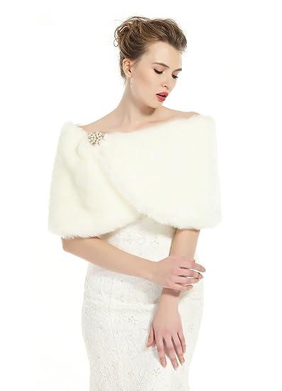 BEAUTELICATE Pelliccia Stola Scialle Donna Sciarpa Elegante per Matrimonio  Invernale Cerimonia Sposa Damigella Spilla Gratis  Amazon.it  Abbigliamento 0504147728e