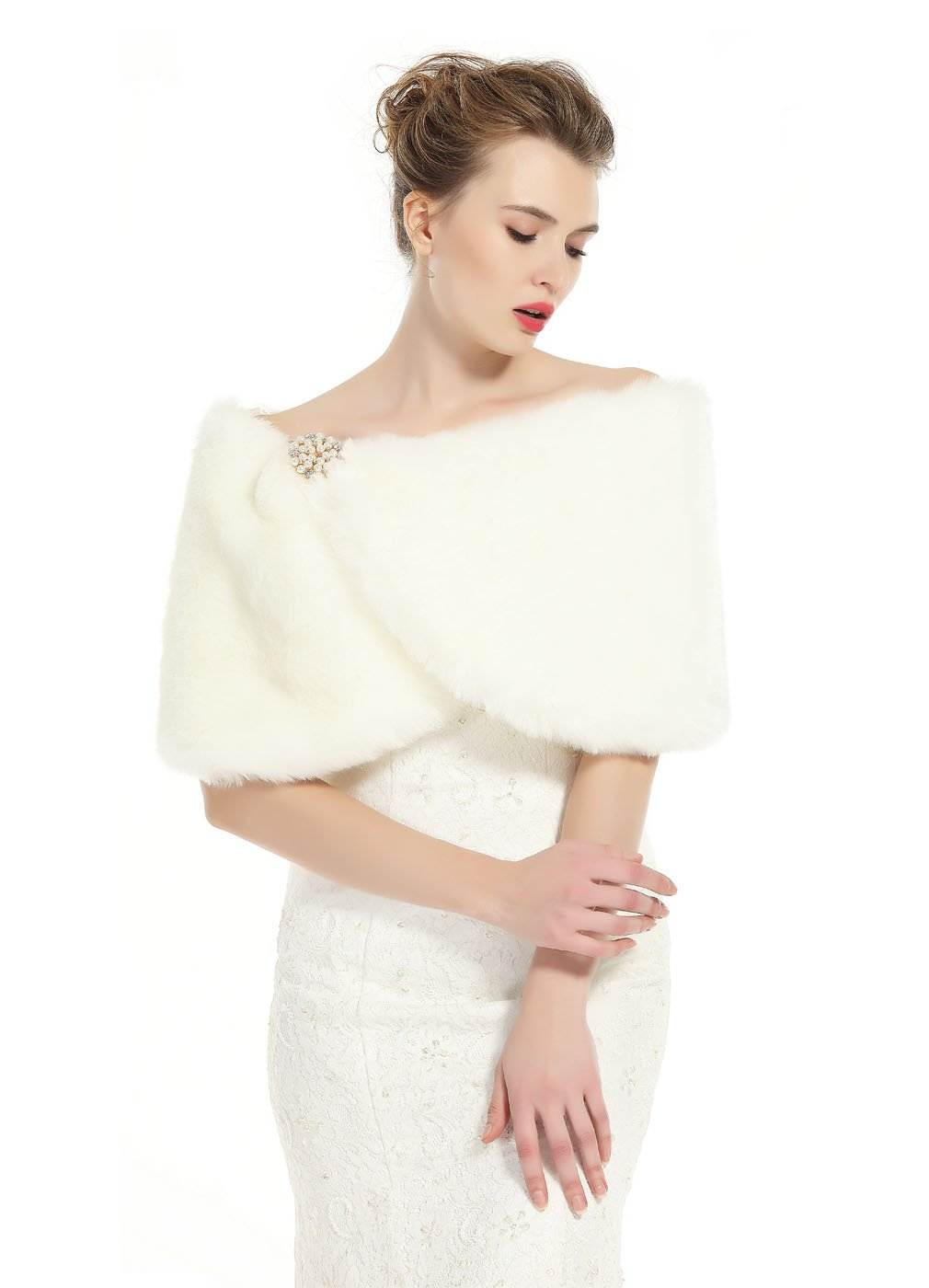 Faux Fur Wrap Shawl Women's Shrug Bridal Stole for Winter Wedding Party Free Brooch Ivory by BEAUTELICATE (Image #1)