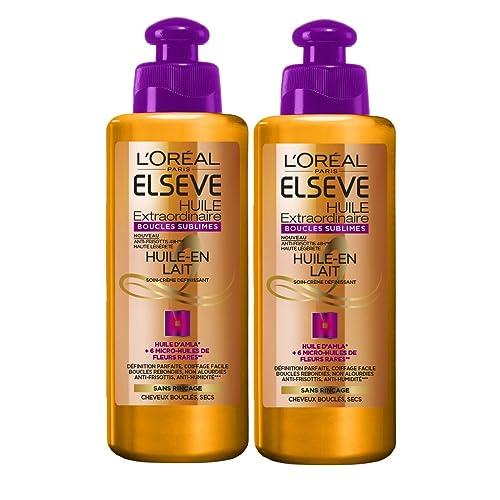 L'Oreal Elseve Huile Extraordinaire Soin sans Rinçage Cheveux Boucles 200 ml - lot de 2