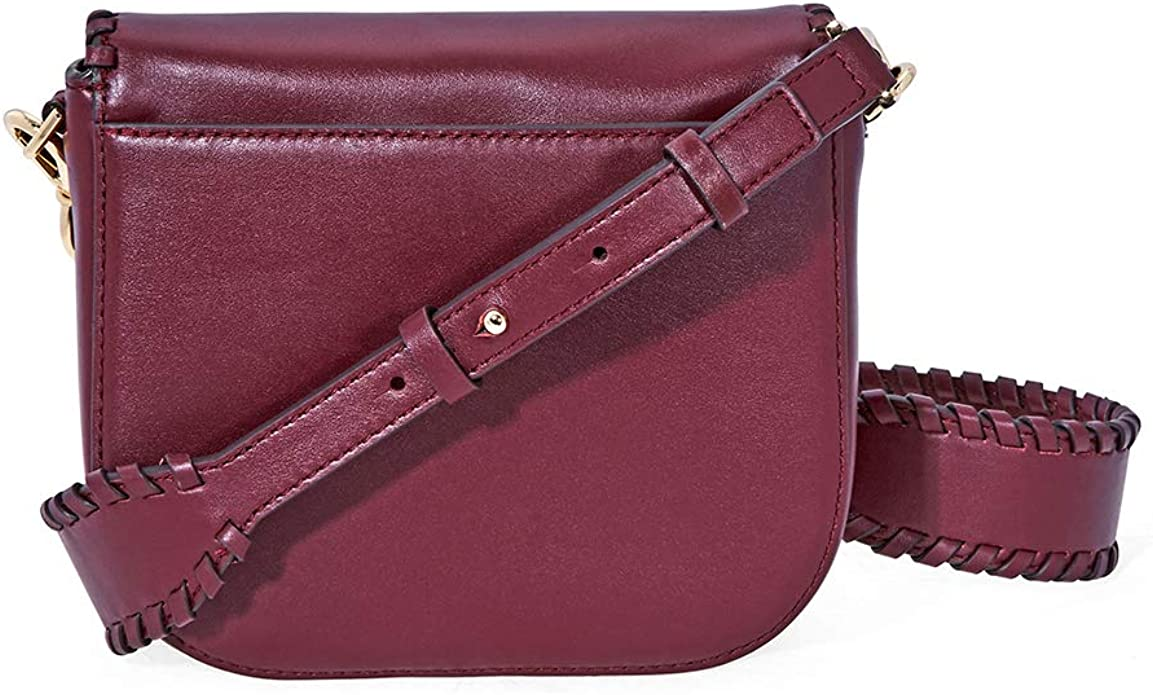 Michael Kors Half Dome WHIPSTITCHED Oxblood Leather Small Crossbody Bag