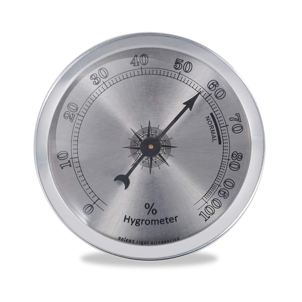 Analog Hygrometer for Cigar Humidor, Round Indoor Humidity Gauge Monitor with +/- 1% Accuracy (Silver) by Volenx
