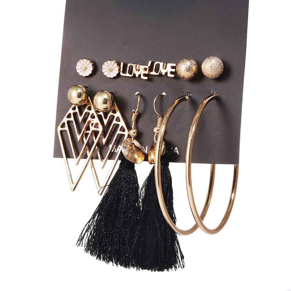 xmelug 6 Paia Fiore Foglia Nappa Cerchio Orecchini da Donna Orecchini Pendenti Set per Accessori Moda Abbigliamento Donna Gioielli 1#
