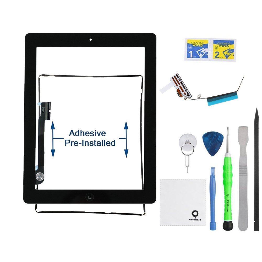 FixCracked for iPad 4 (4th Generation) Touch Screen Glass Digitizer Replacement, Home Button Assembly, Midframe Bezel, Pre-installed Adhesive Tape, Wifi Antenna with Tools,Black