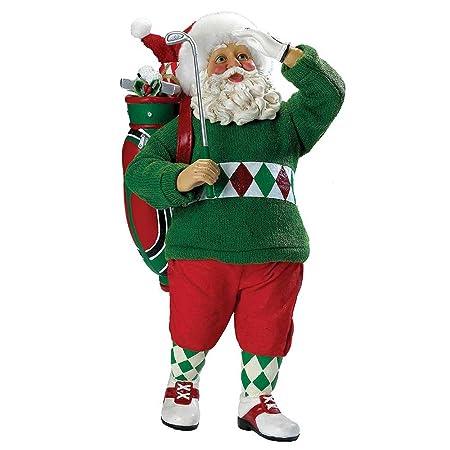 Kurt Adler Fabriche Golf Santa Figurine, 12-Inch