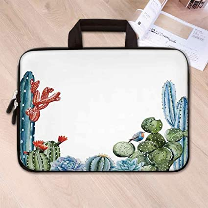 13570fccdeb4 Amazon.com: Cactus Decor Neoprene Laptop Bag,Cactus Spikes Flowers ...