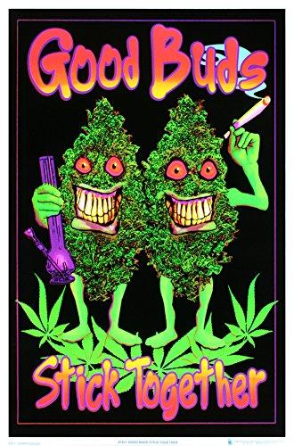 Good Buds Stick Together Pot Marijuana Blacklight Poster Print 24 x 36in