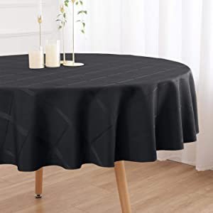 VEEYOO Rectangle Round Polyester Tablecloth Soft Stripe Plaid Table Cloth Spillproof and Wrinkle Resistant Checkered Table Cloth for Bridal Shower Wedding Restaurant (Circle Black, 70 inch Dia)