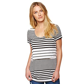 Women Mom Striped Splice Double Layer Breastfeeding Nursing Baby Pregnant  for Maternity Blouse T-Shirt a4e7500e4