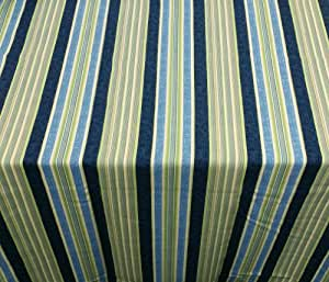 Waverly Ocean Getaway Outdoor Fabric Tablecloth, 52 x 70 Oblong (Rectangle) with Umbrella Hole and Zipper