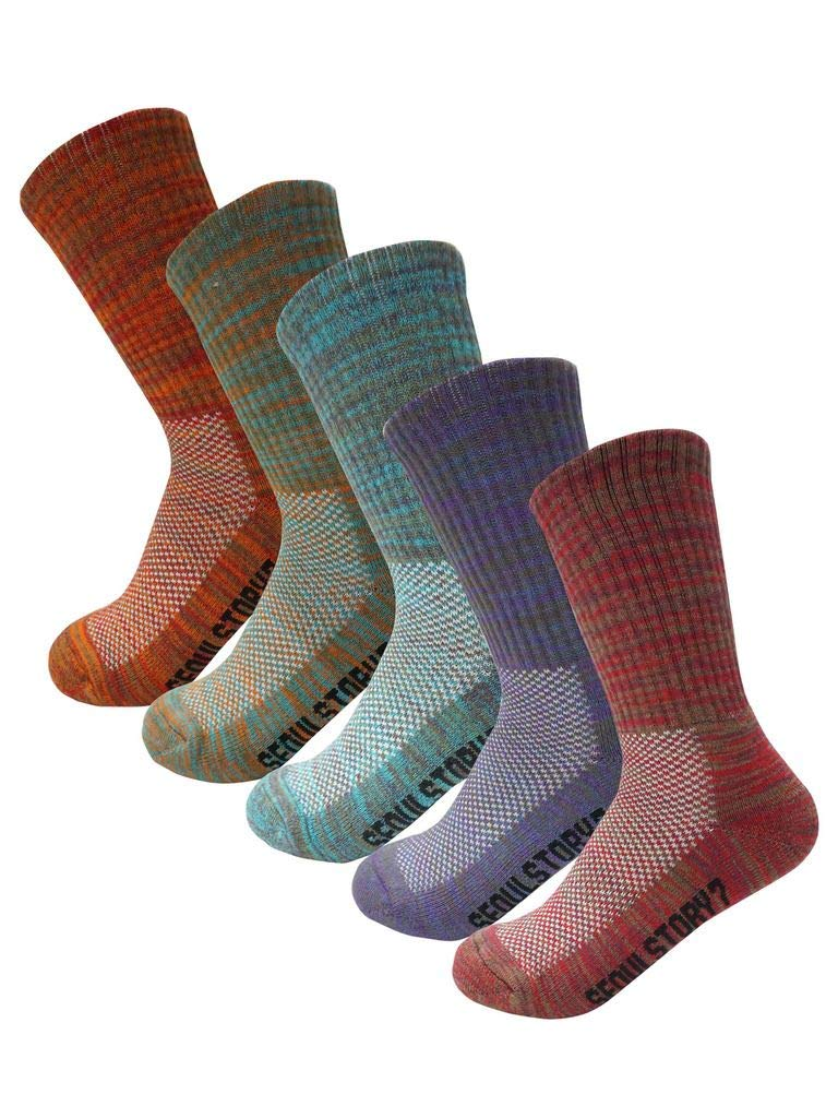 SEOULSTORY7 5Pack Women's Multi Performance Cushion Hiking/Outdoor Crew Socks Multicolor Small by SEOULSTORY7