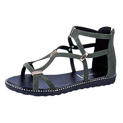 Feitong Damen Sommer Flach Sandalen Frauen Bohemian Peep-Toe Sandals Sommerschuhe PU Leder Strand Schuhe Zehentrenner...