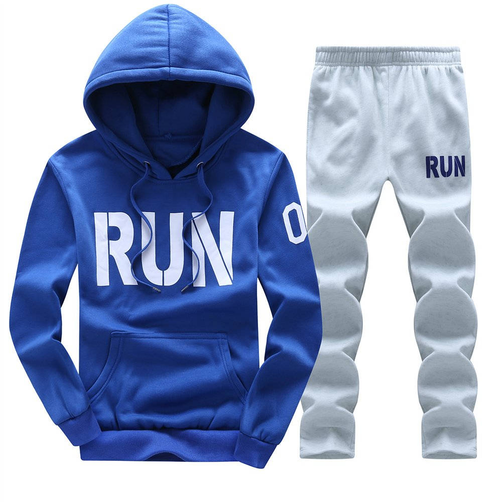 MANTORS Men's Hooded Tracksuit Warm Pullover Jogging Sweat Suits Sky Blue-L
