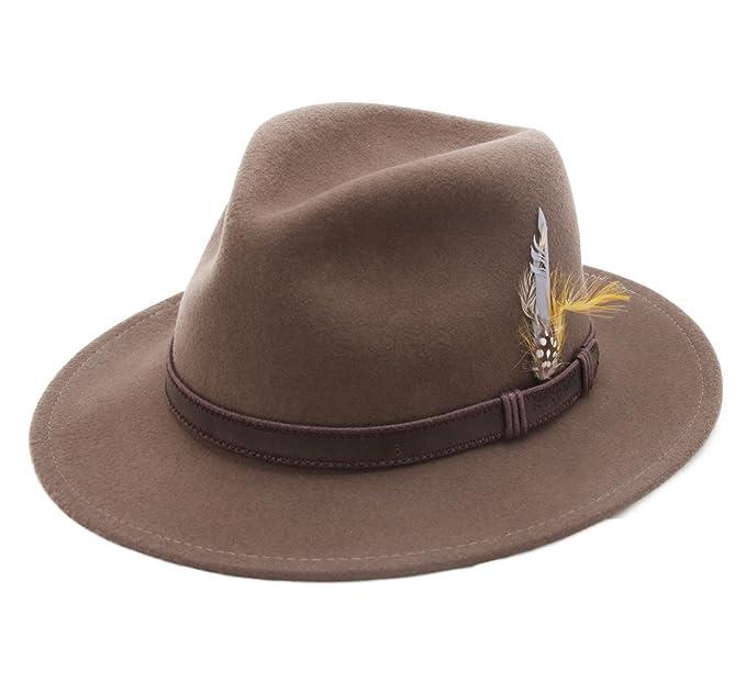 Stetson Rutherford VitaFelt Wool Felt Fedora Hat Packable Size M Brown-7 e95369e60fad