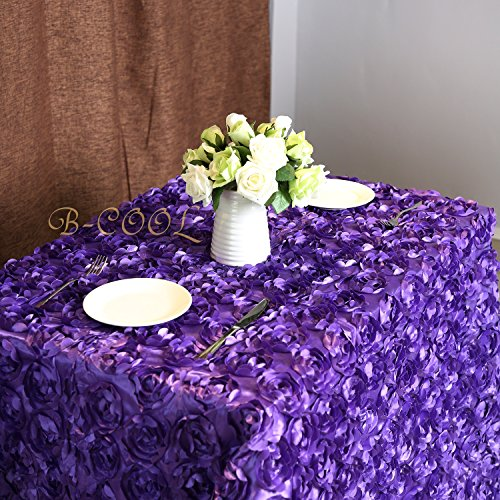 (B-COOL Rose Pattern Tablecloth Rectangle Grandiose Rosette Tablecloth for Christmas/Home Dining Room Purple 60