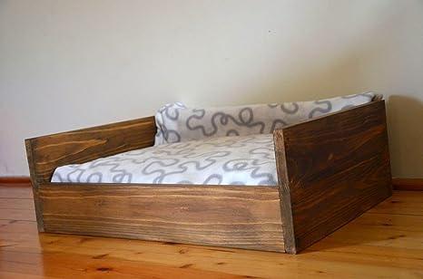 Rústico nuevo cama para perro grande de madera hecha a mano de estilo antiguo