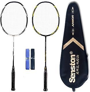 Senston–High Grade set grafite racchetta da badminton 2giocatori–include 1racchette da badminton bag/2/2grip, white+black