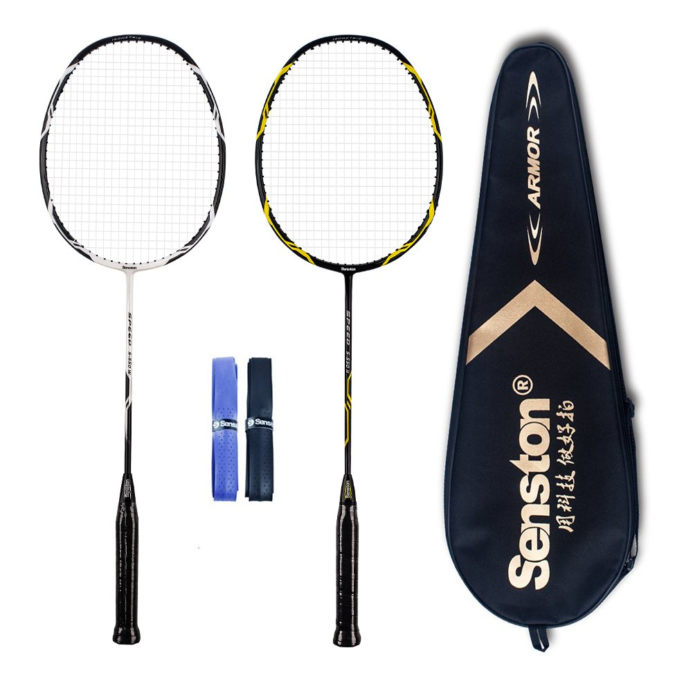 Senston - High Grade 2 Player Graphite Badminton Racket Set - Including 1 Badminton Bag/2 Rackets/2 Grip(White+Black)