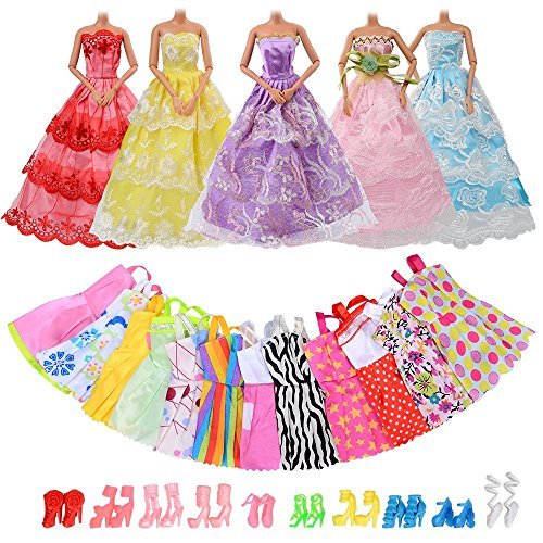 ASIV 27pcs Clothes and Accessories for Barbie Dolls, 5 Party Gown Dresses + 12 Mini Skirts + 10 Pairs of Shoes, Xmas Gift- Random Style