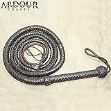 Genuine Real Leather 08 Feet Long 08 Plait Weaving Bull Whip Dark Brown