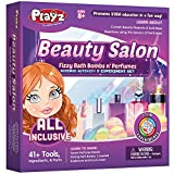 Playz Beauty Salon Arts and Crafts Activity Kit for Girls - All-Natural Spa Gift Set to Make Bath Bombs & Perfumes Using Educational STEM Science Formulas - Ages 8, 9, 10, 11, 12 Years Old