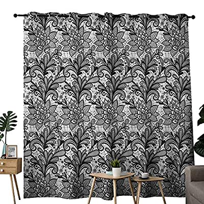 NUOMANAN Room Darkening Wide Curtains Leaf,Lace Style Graphic Ornament in Black and White Vintage Style Design with Gothic Look, Black White,Light Blocking Drapes with Liner