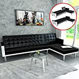 Festnight Artificial Leather L-shaped Sofa Bed for Living Room, Black/White