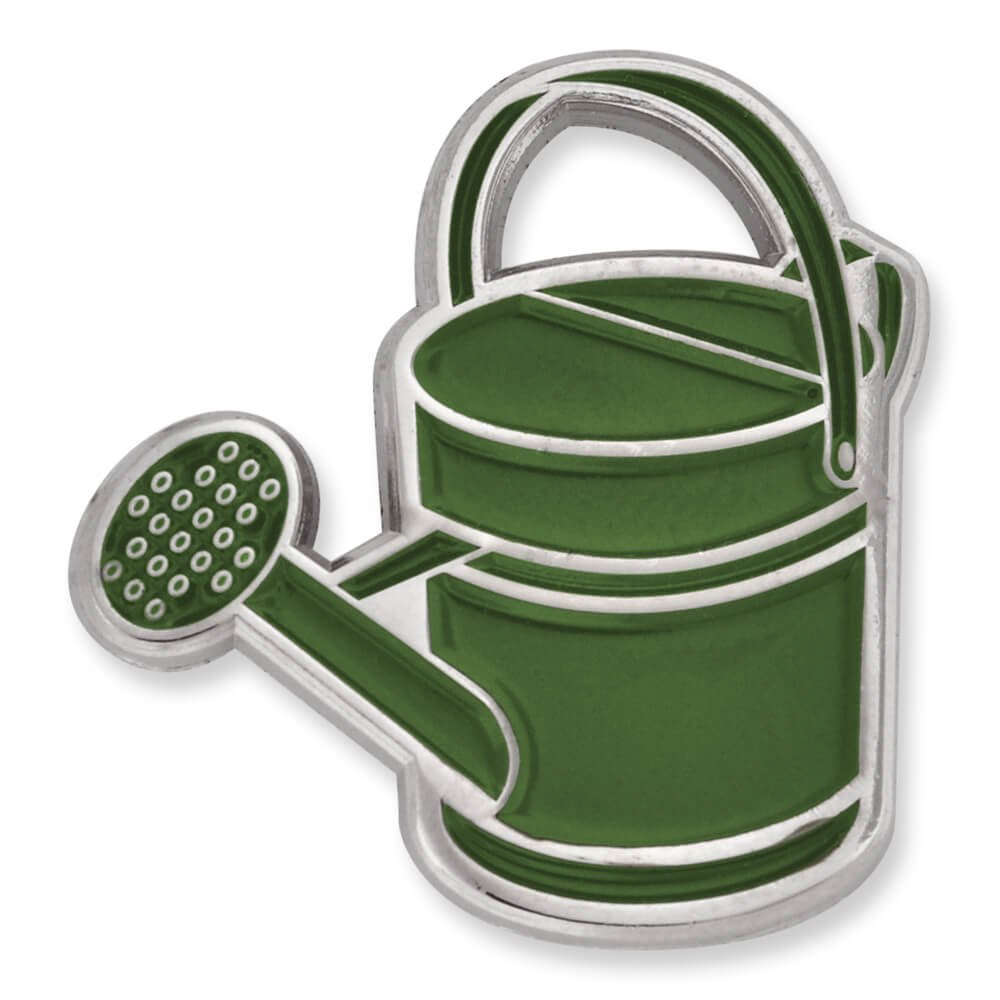 PinMart's Green Antique Rustic Watering Can Gardening Enamel Lapel Pin