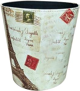 Trash Can,Yamix Retro European Style Household Home Office Round PU Leather Wastebasket Waste Bin Paper Basket Trash Can Dustbin Garbage Bin Wastepaper Basket Ashcan Ashbin without Lid - Tower Pattern