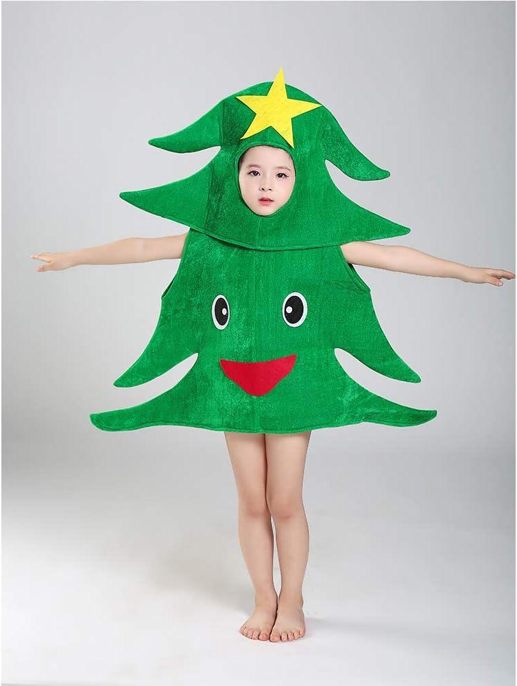 Disfraz de duende para niños Disfraces de árbol de Navidad para niños, espectáculos de plantas, disfraces de escenario, disfraces de dibujos animados para fiesta de Navidad A-110cm