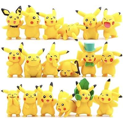 CNAK 18PCS 4-6CM Pikachu Action Figures Poke Mini Dolls mon Set: Toys & Games