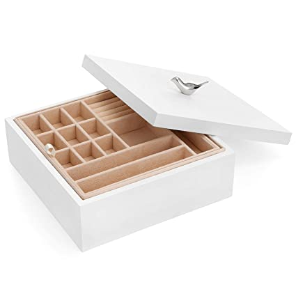 Songmics Wooden Jewelry Box 2 Layer Jewelry Organizer With Removable Tray Gift For Loved Ones White Ujow11wt