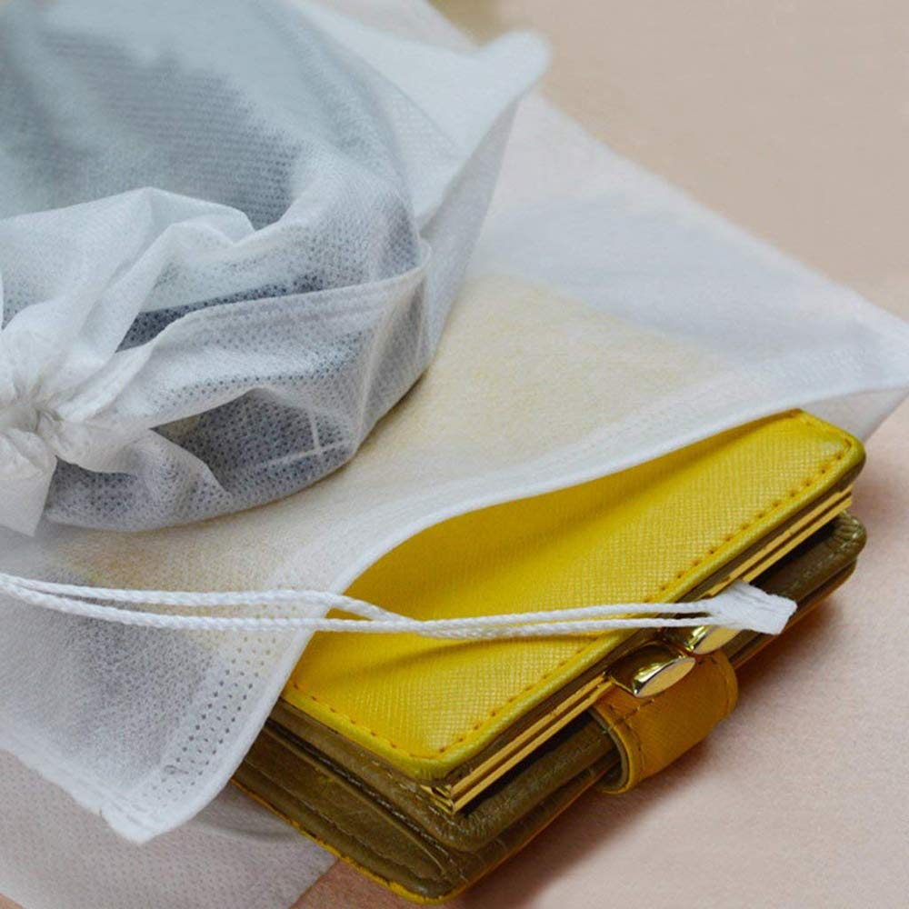 Xeminor 10Pcs Non-Woven Shoe Bag Travel Dustproof Drawstring Organizer Travel Carrying Supplies(White) by Xeminor (Image #4)